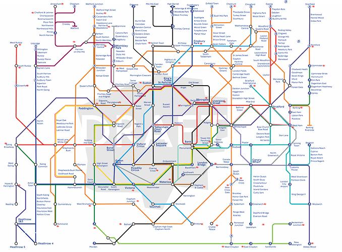 Tube Map Based On Interchanges version 14