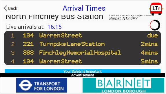 Screenshot - Arrival Times - 01